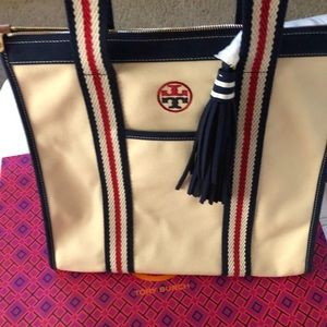 Tory Burch T Embroidered Tote